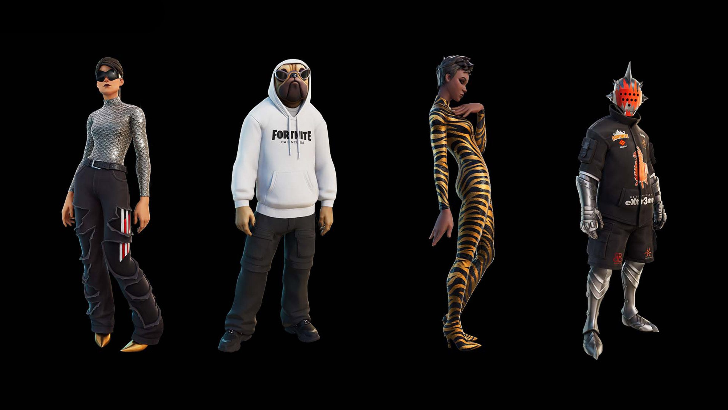 A line up of the Fortnite Balenciaga collection