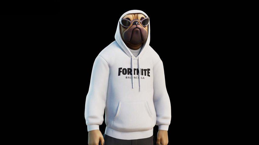 A hoodie has fortnite printed across it