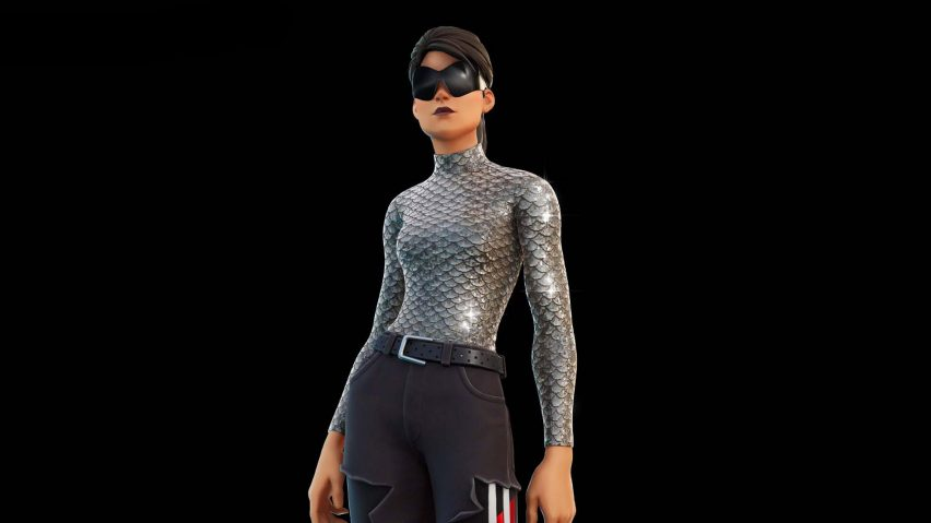 A fortnite character is dressed in balenciaga