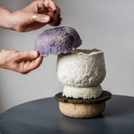 Studio Barbara Gollackner exhibits tableware made from food waste at Vienna Design Week