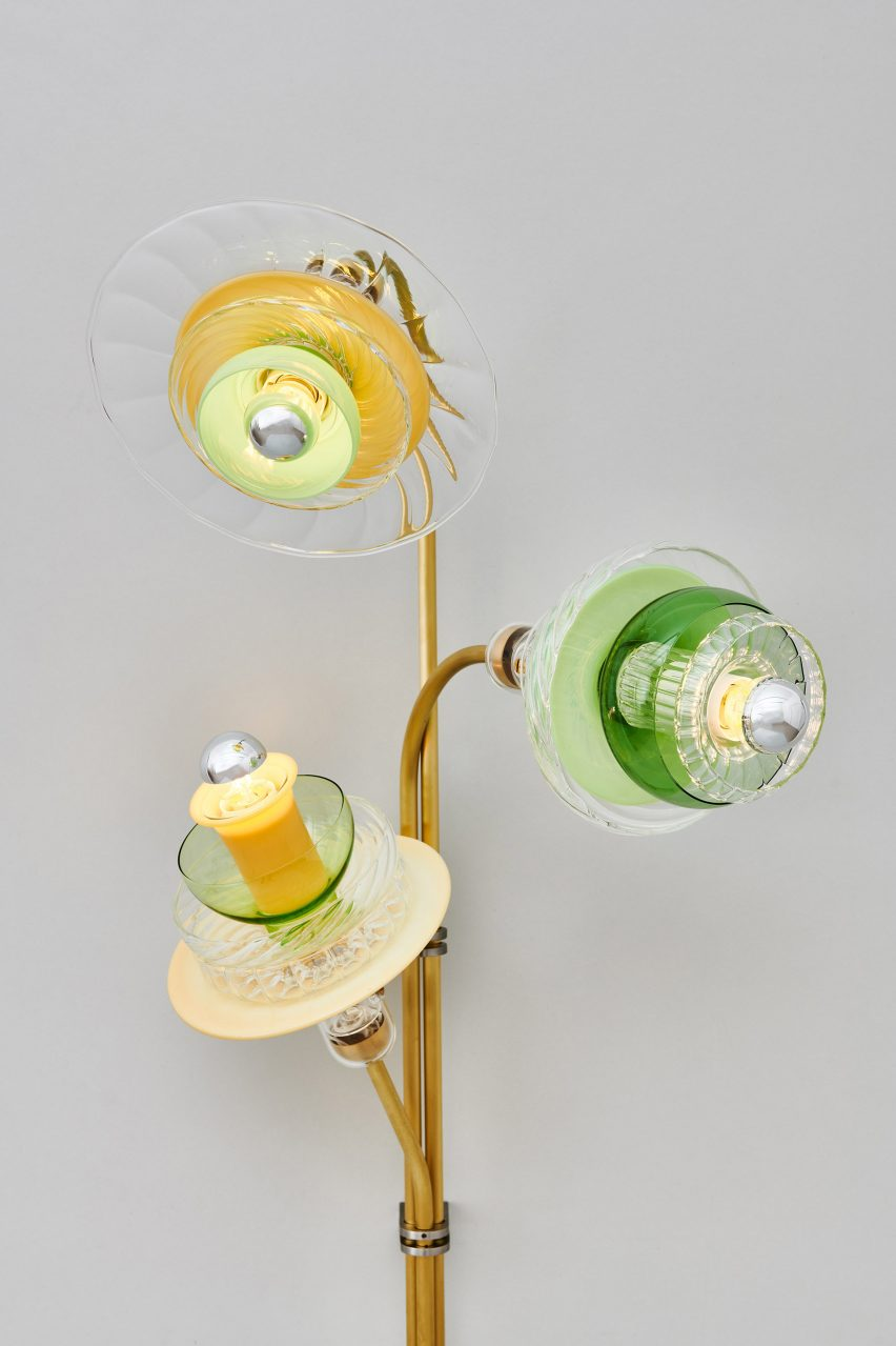 Lamp made from coloured glass