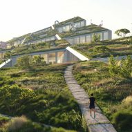 """BIG and Castro Group plan """"urban fashion village"""" with hill-like roof"""