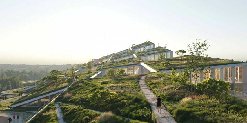 A garden was placed on top of the sloped roof at Fuse Valley