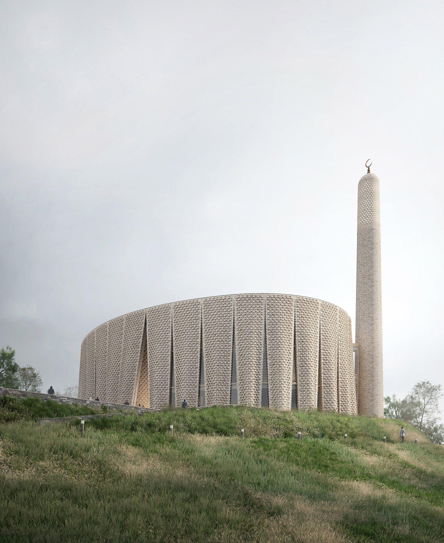 Визуализация предлагаемой мечети Brick Veil