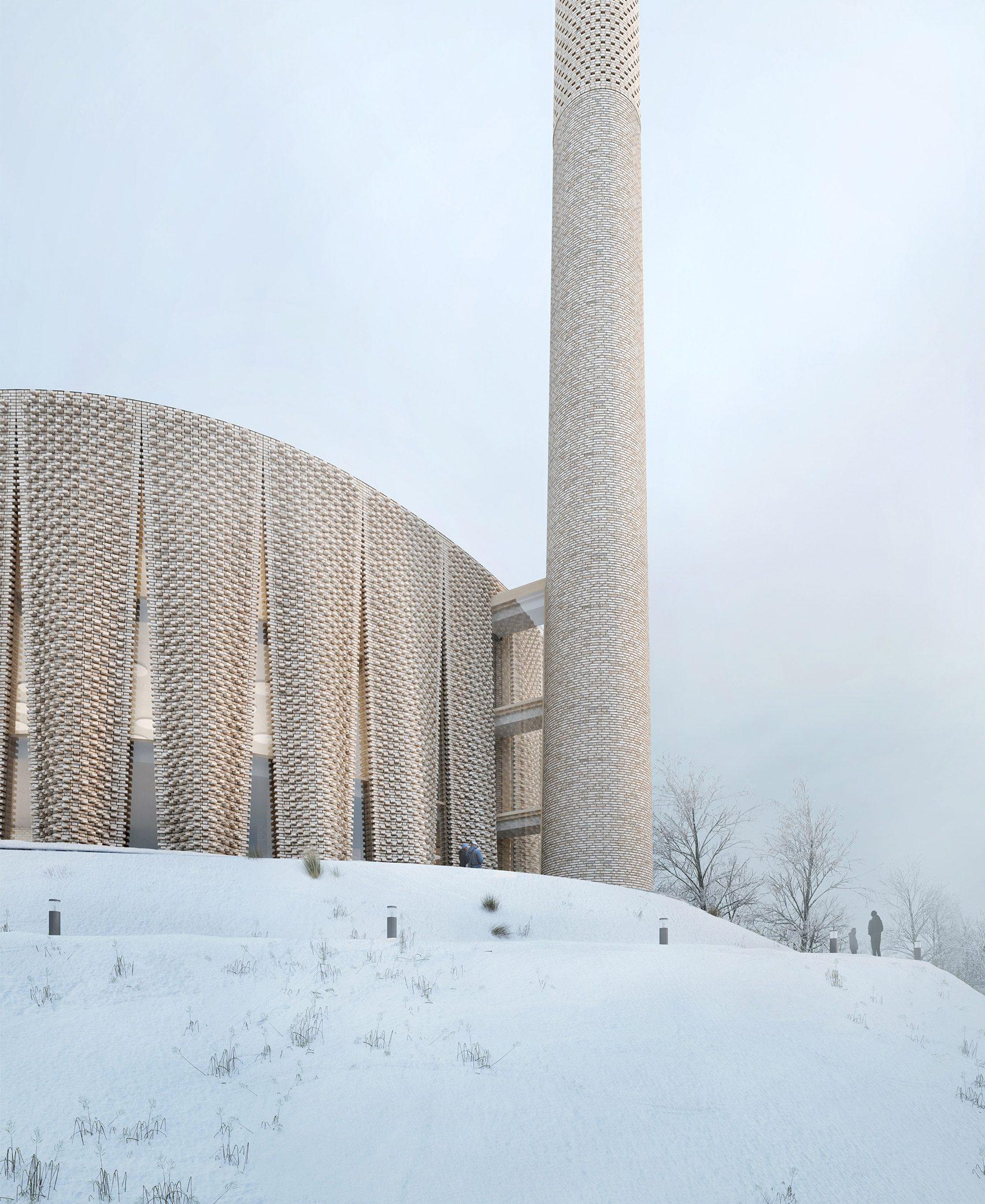 Визуализация фасада мечети Brick Veil