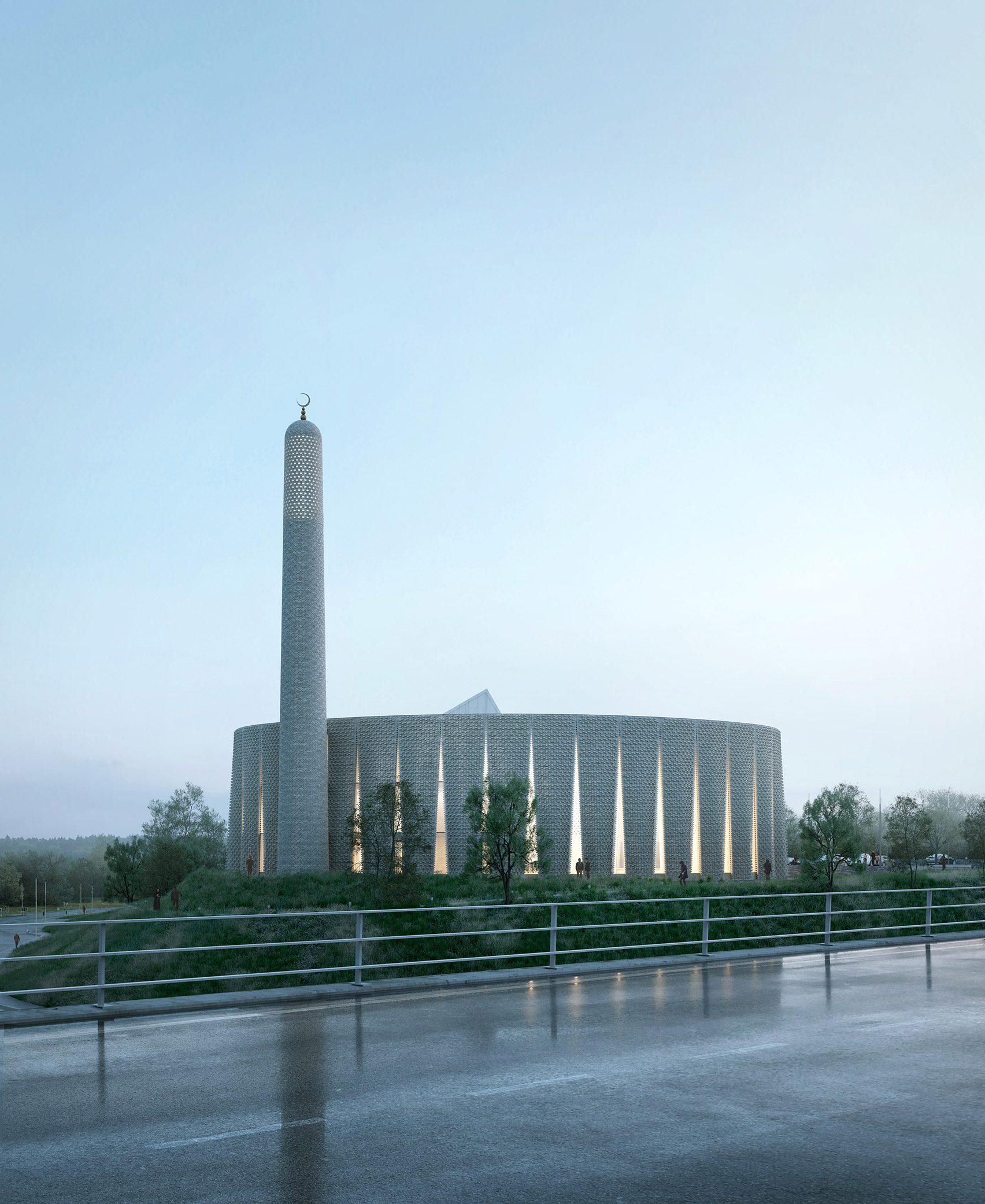 Рендеринг круглой мечети в Престоне