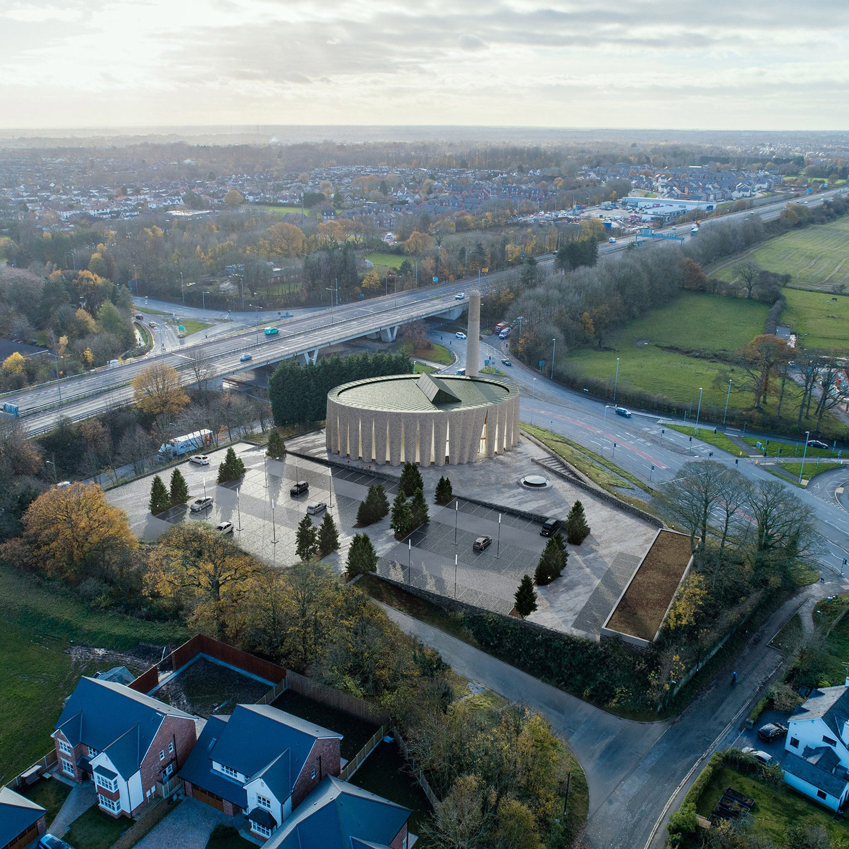 Вид с воздуха на мечеть в Престоне.