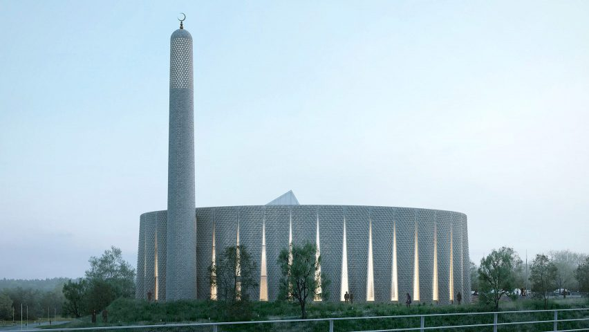 A render of a brick mosque