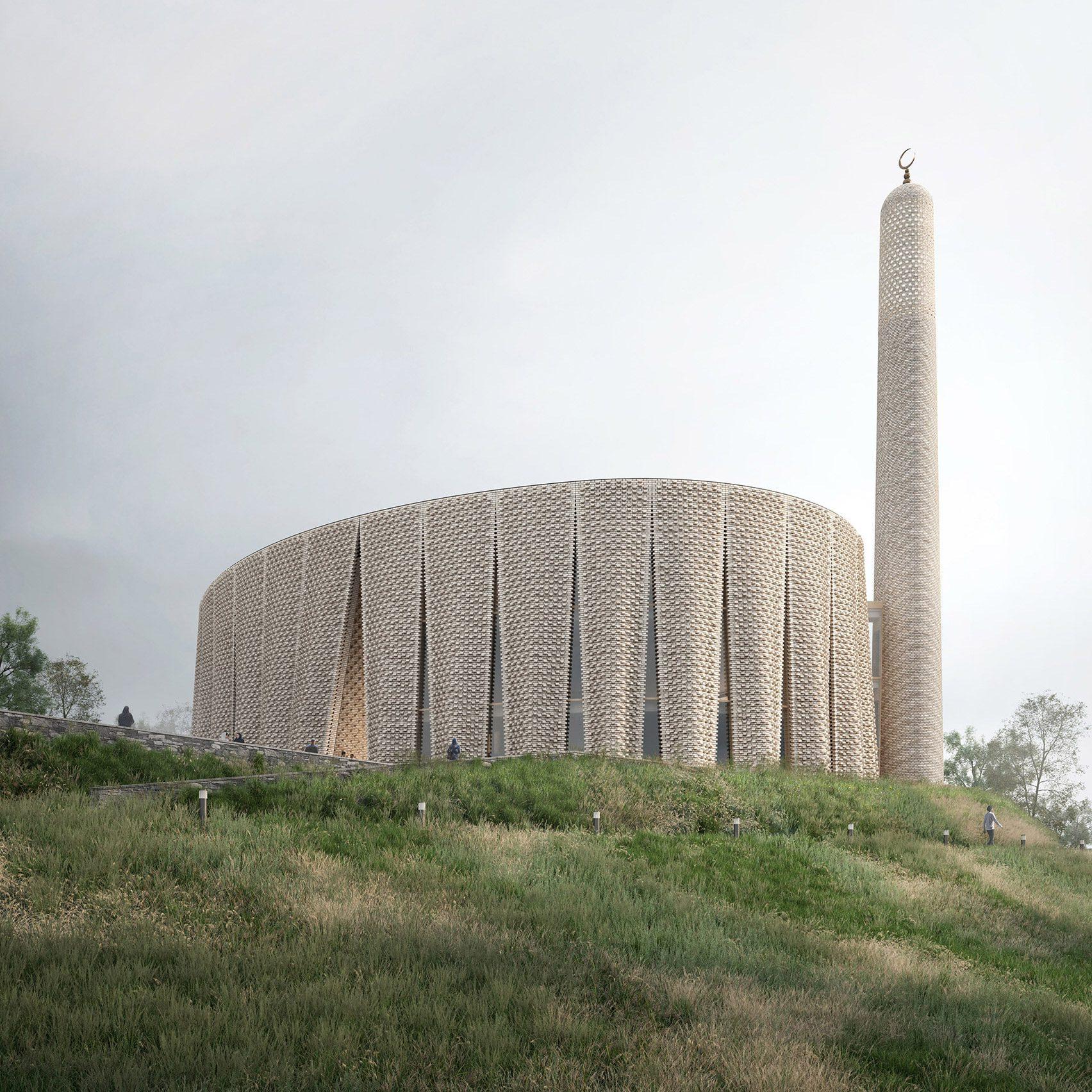 A brick mosque render