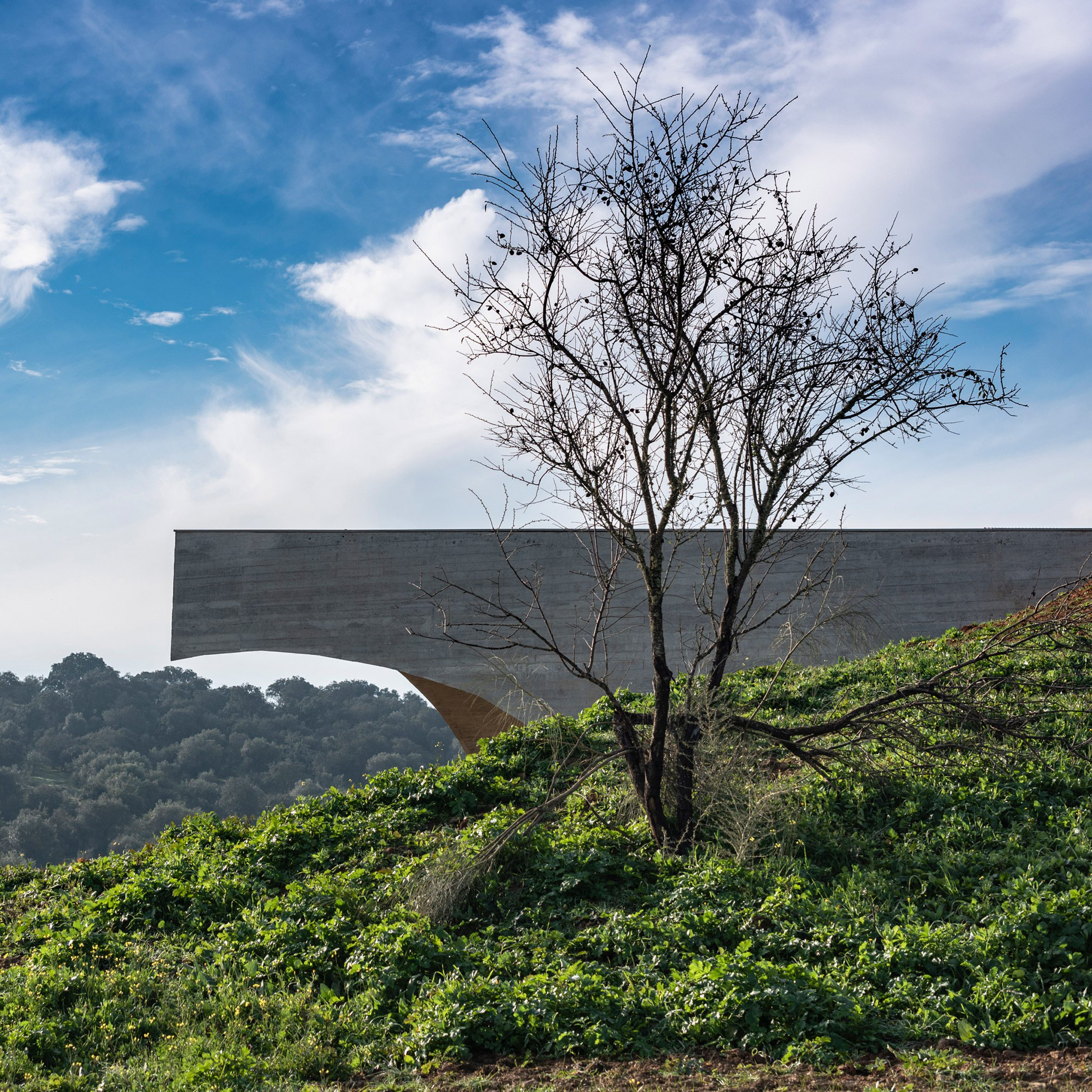 This cantilevered house is in Portugal