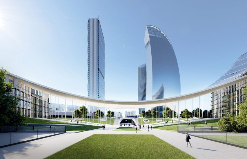 Curved canopy of the CityWave buildings with towers rising above it