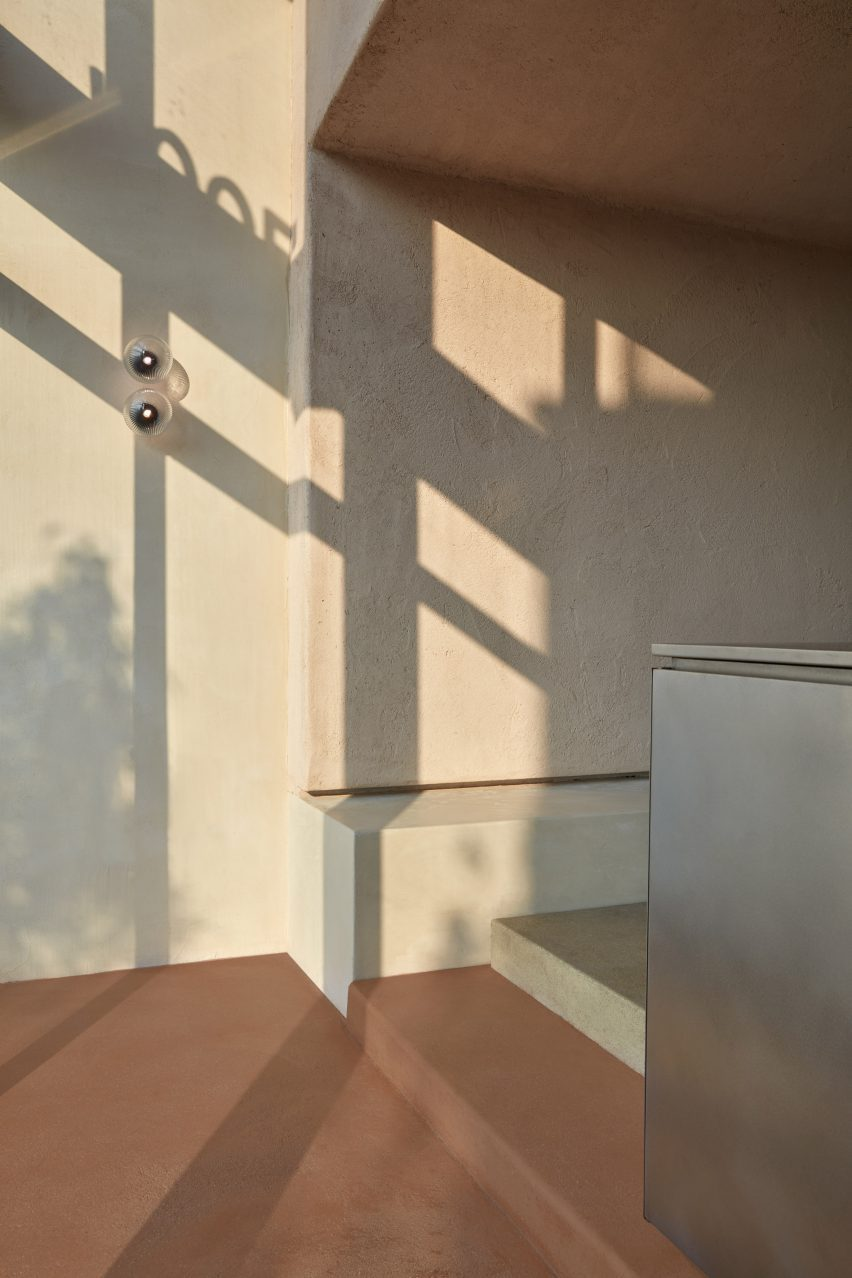 A beige wall covered in Arakabe clay finish