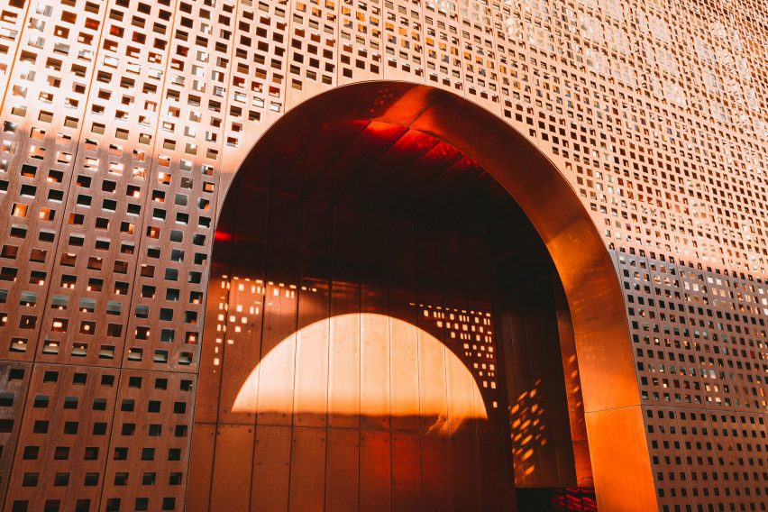 Light reflects off the copper at the Saint-Francois Convent