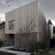 Pale wood clads Courtyard House in Vancouver by Leckie Studio