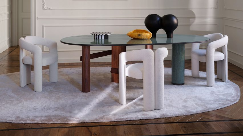 A dining table with Dudet dining chairs