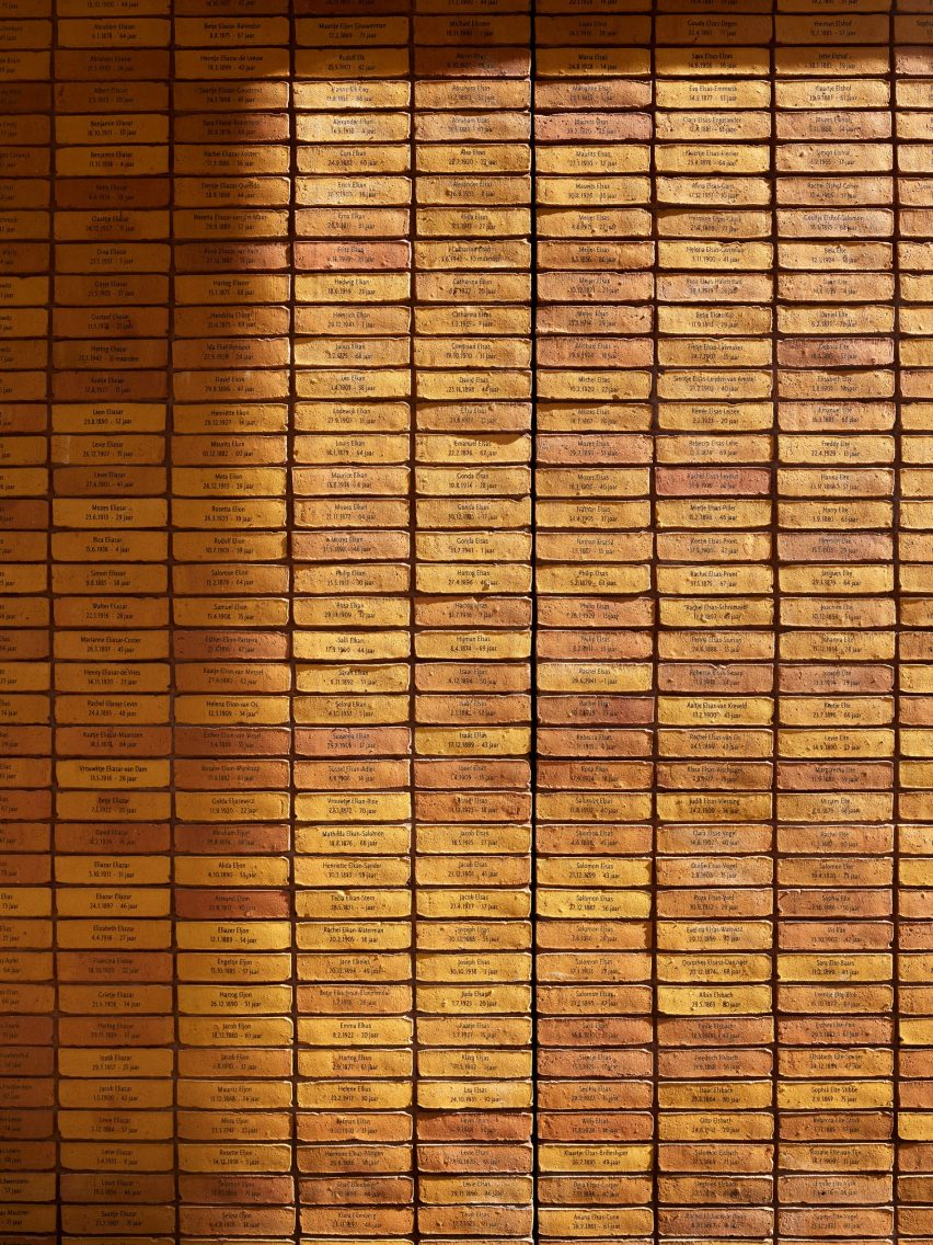 Bricks inscribed with names of Dutch Holocaust victims