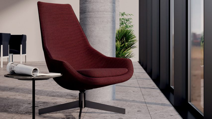 A red chair called Exord for Cassina