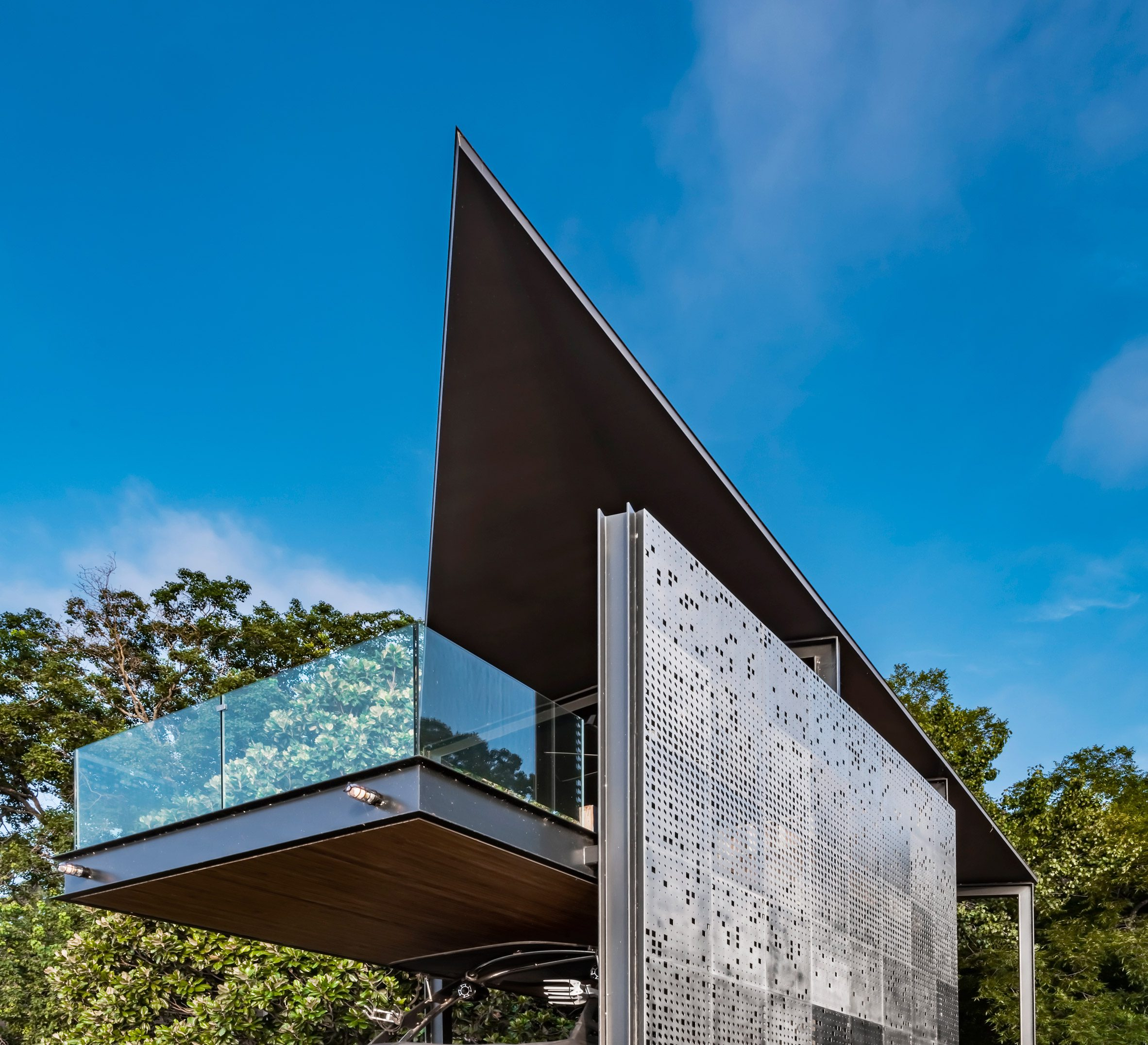 The project has perforated facades