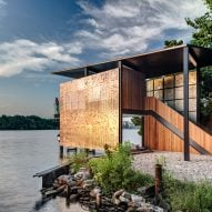 Matt Fajkus adds perforated steel screens to Austin boathouse