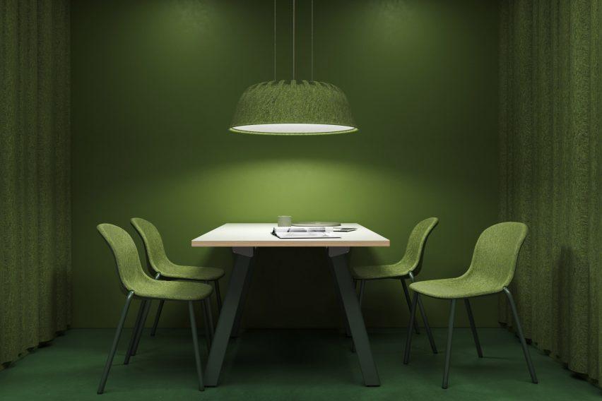 Green Fost PET Felt Acoustic Lamp
