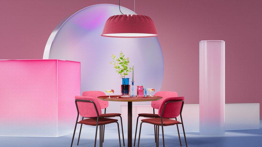 Pink Fost PET Felt Acoustic Lamp by De Vorm