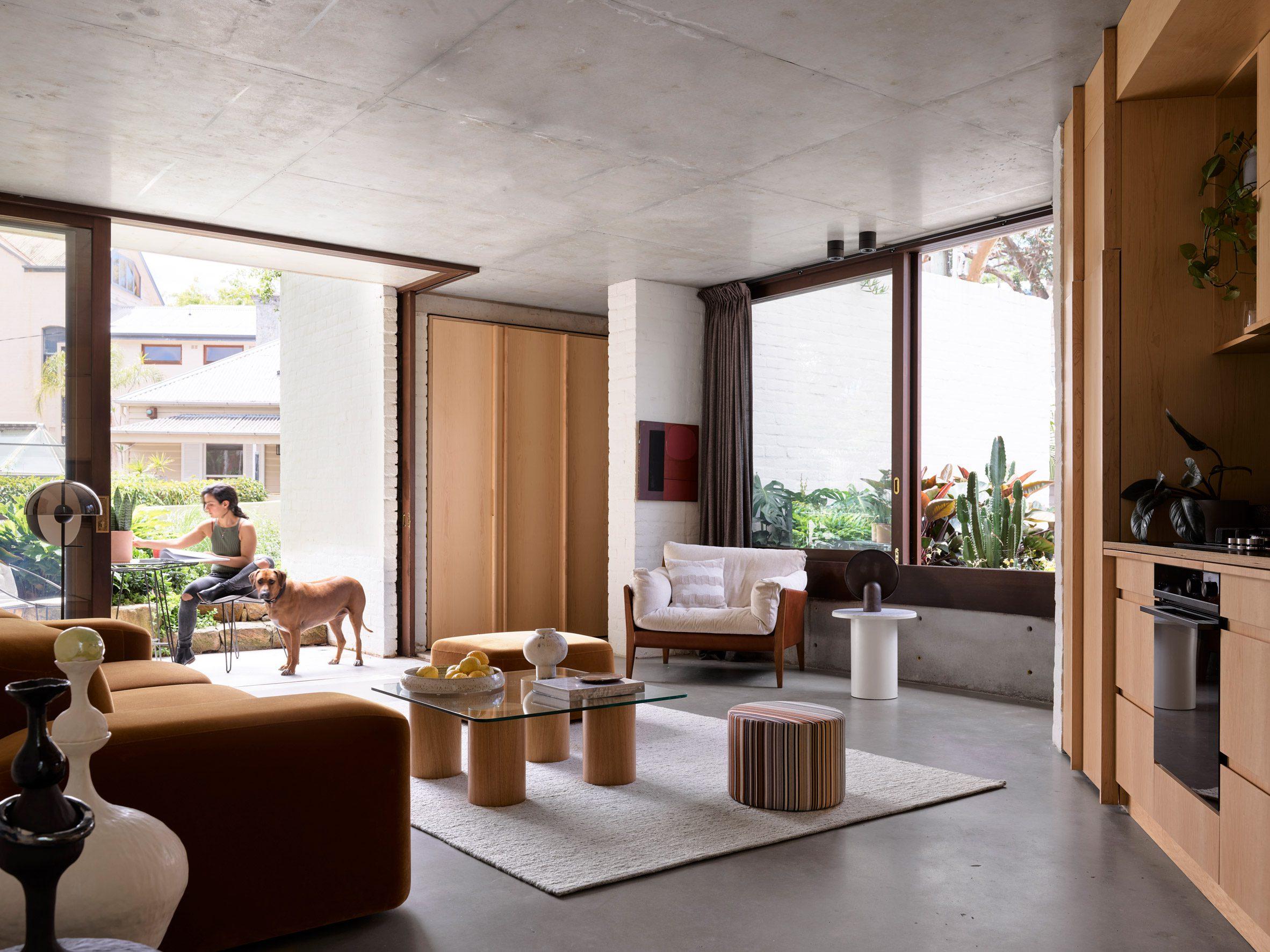 Living room in modernist house