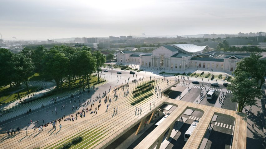 Timber bus terminal by Zaha Hadid Architects