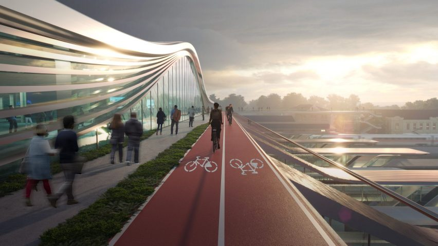 Bridge with cycle lanes by Zaha Hadid Architects
