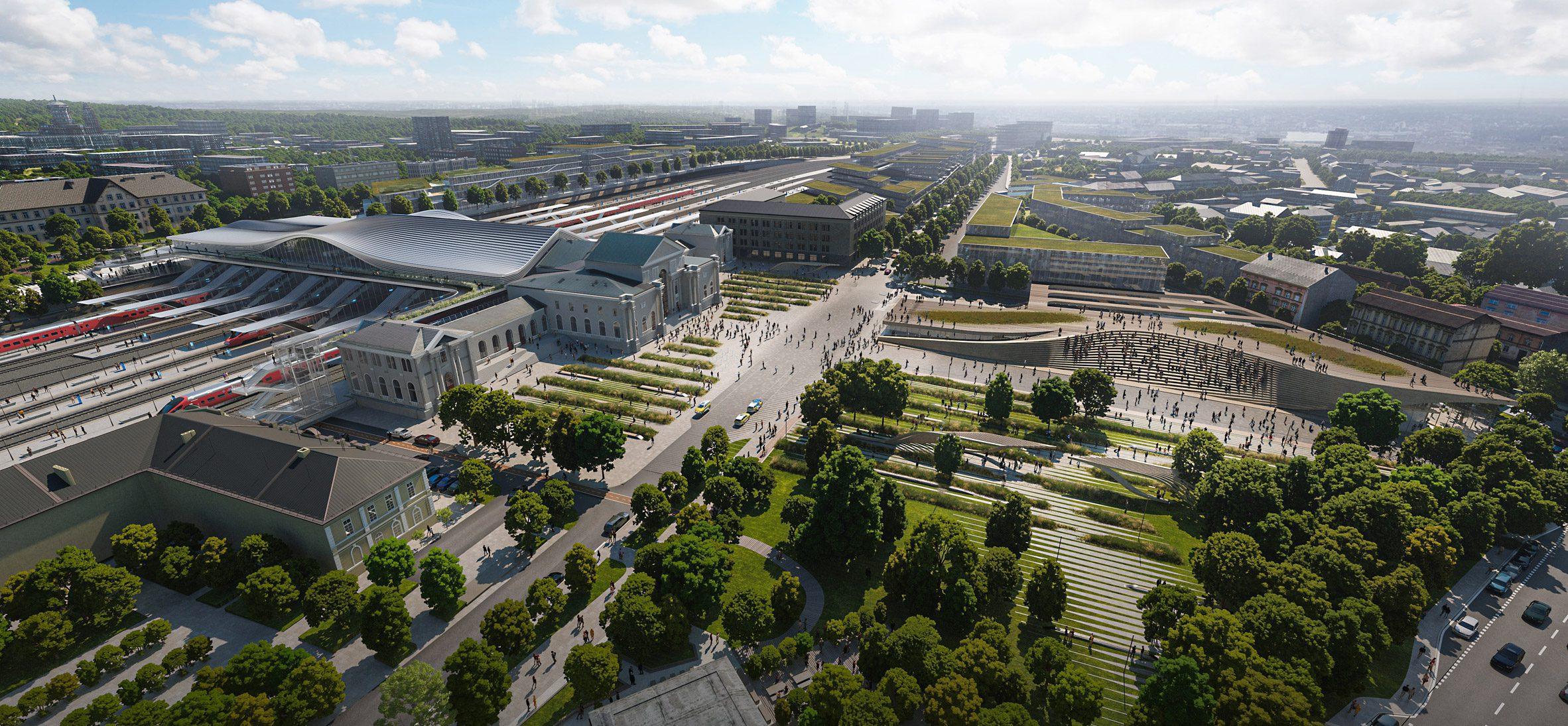 Аэрофотоснимок планируемой реновации Вильнюсского вокзала. Рендер реконструкции Green Connect от Zaha Hadid Architects.