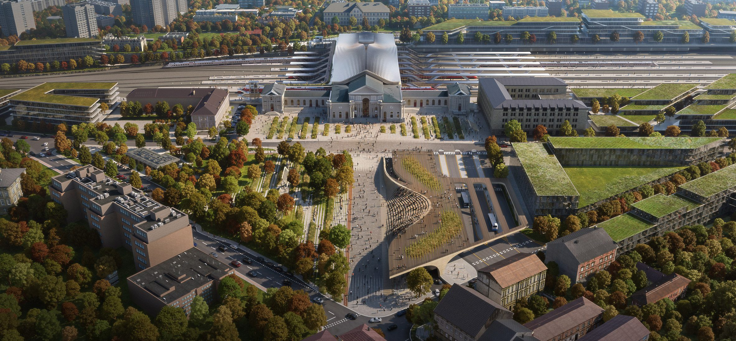 Аэрофотоснимок планируемой реновации Вильнюсского вокзала. Реновация реконструкции Green Connect от Zaha Hadid Architects.