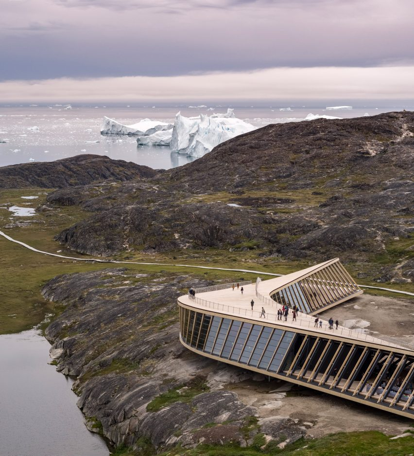 Roof terrace of Ilulissat Icefjord Centre by Dorte Mandrup Arkitekter