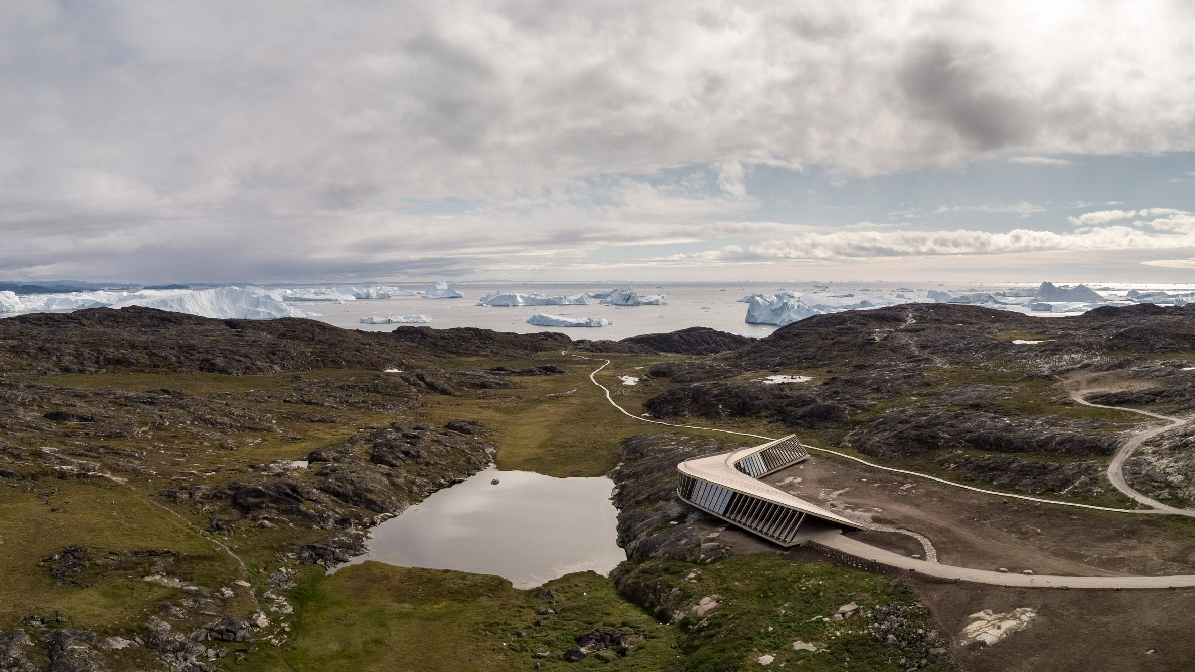Aerial view of Ilulissat Icefjord Centre by Dorte Mandrup Arkitekter