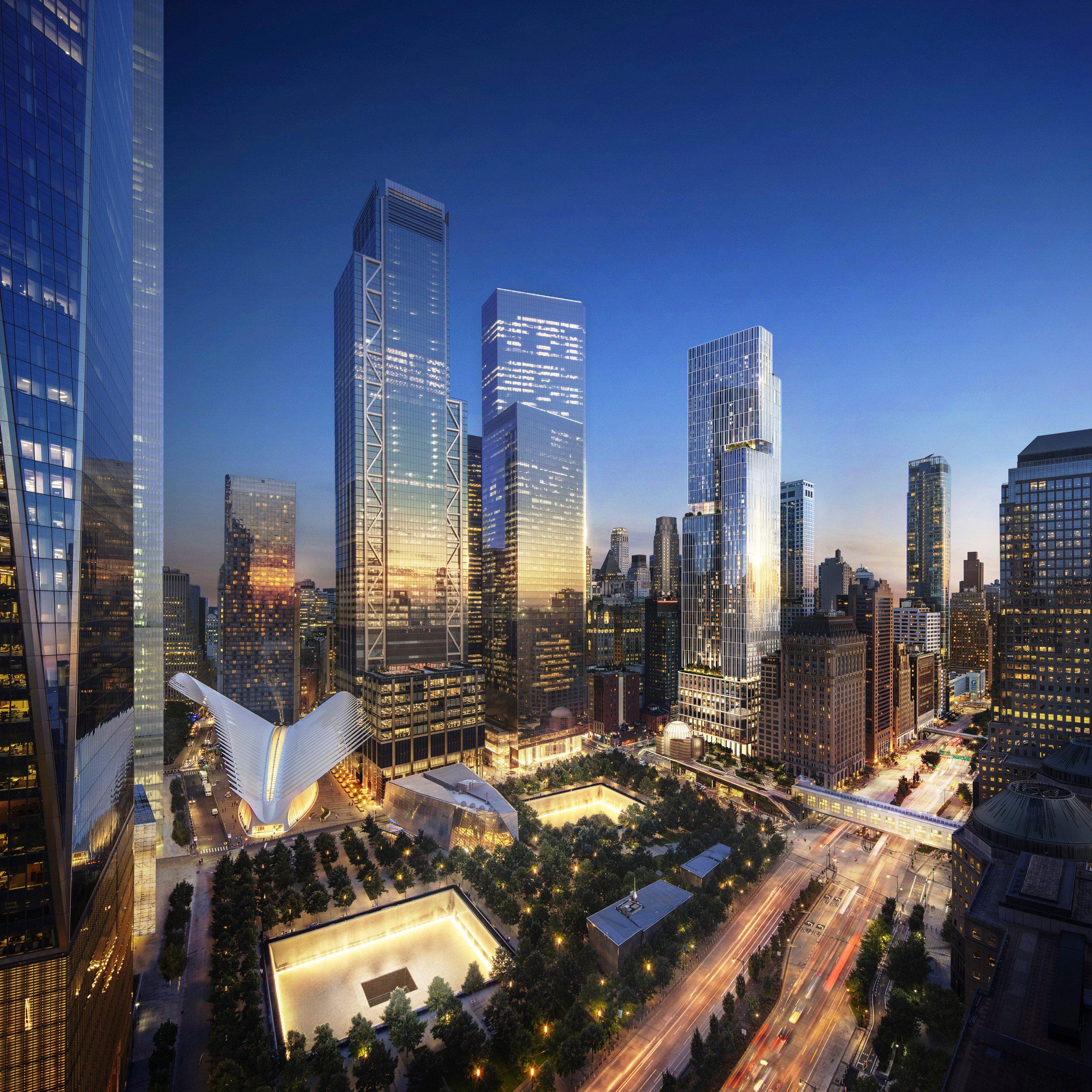Visual of Ground Zero master plan and 5 World Trade Center