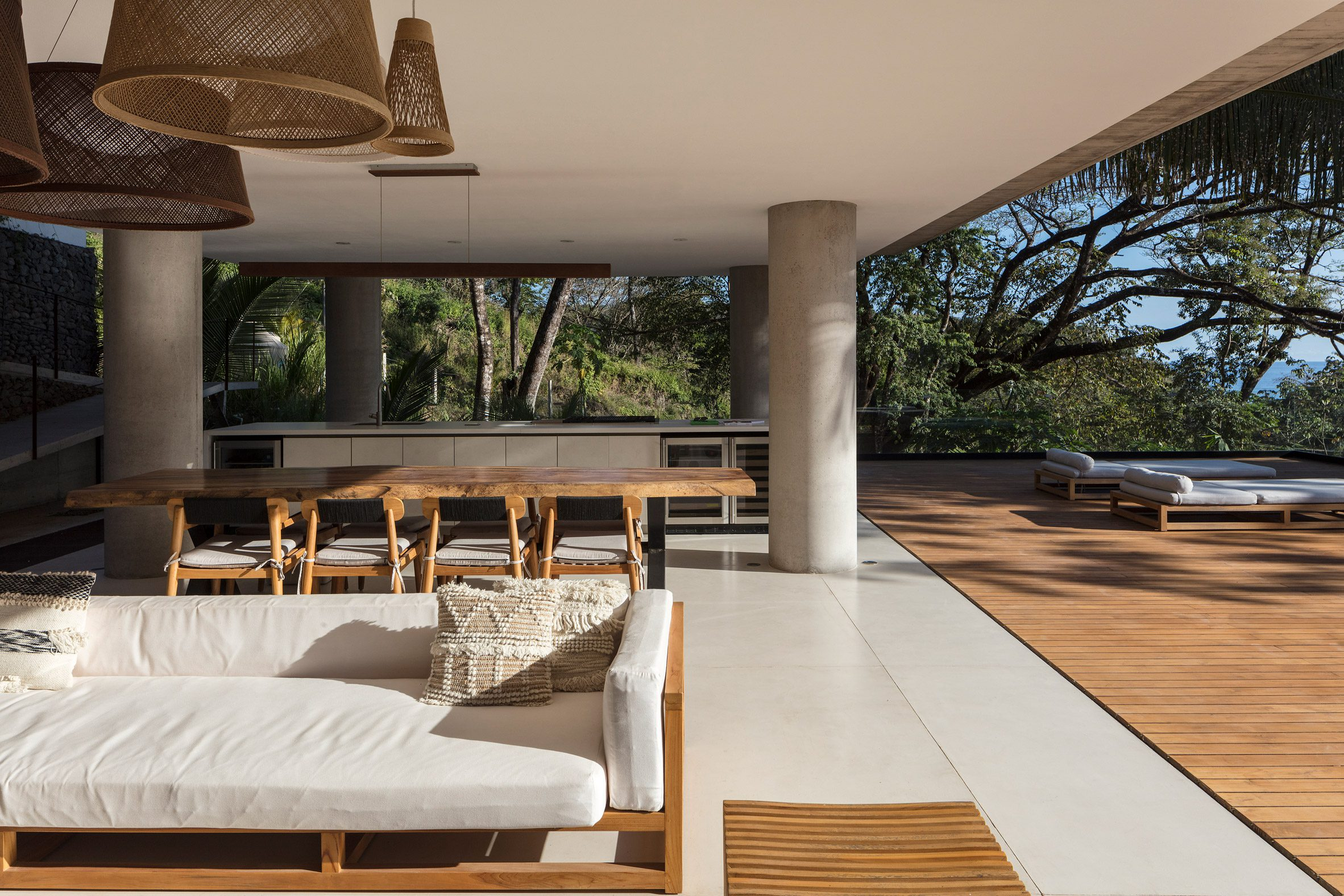 Communal living area open to the landscape