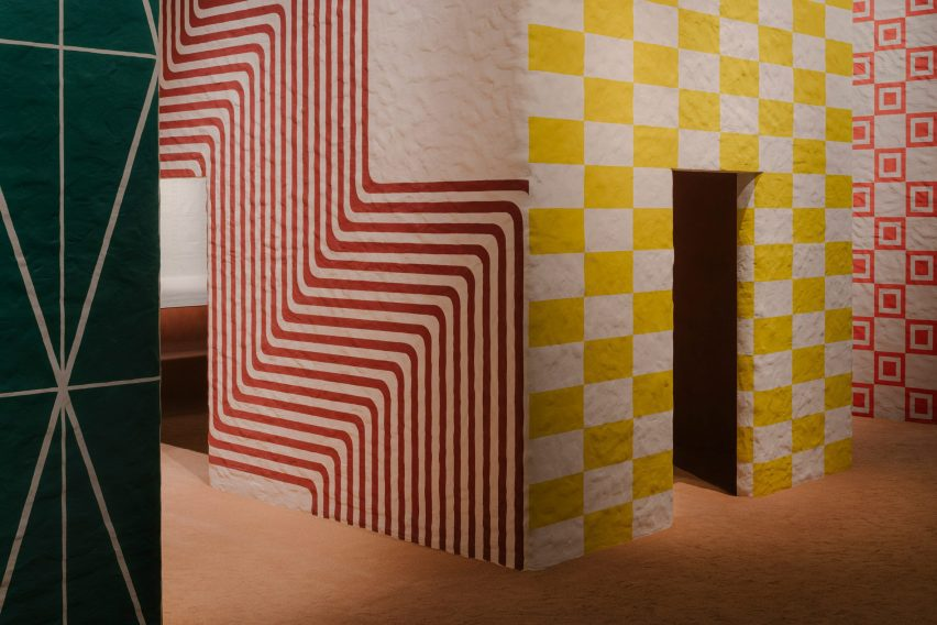 Structures covered in yellow and red stripes
