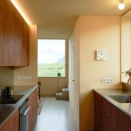 Wooden kitchen in Icelandic holiday home