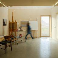 A wooden artist studio