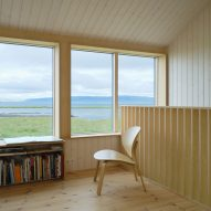 A wood-lined living room in an Icelandic holiday home