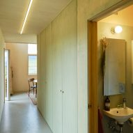 Wood-lined interiors of Icelandic holiday home