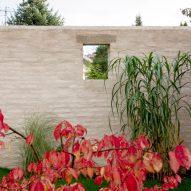A brick garden wall