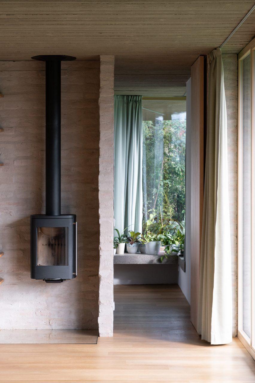 Brick-lined living room