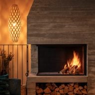 Fire place in House with Courtyards