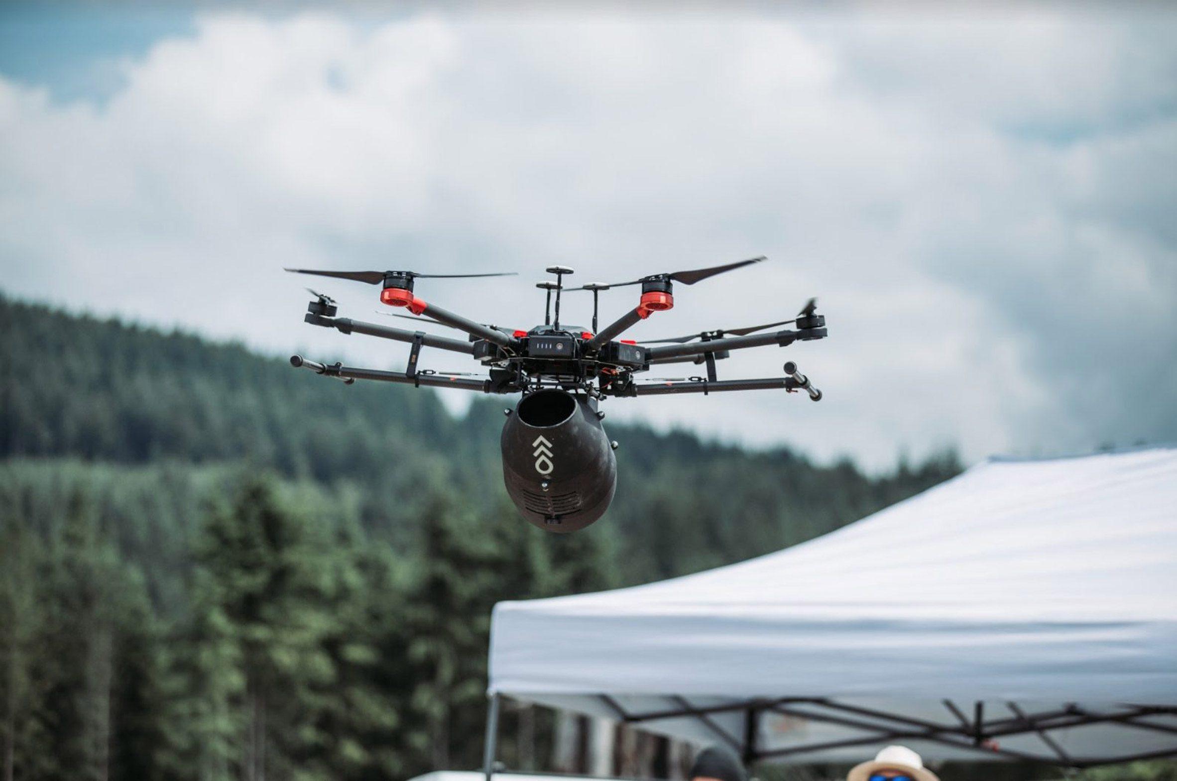 A drone flying above a gazebo
