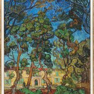 A painting of trees and houses at the Laura Owens and Vincent van Gogh exhibition