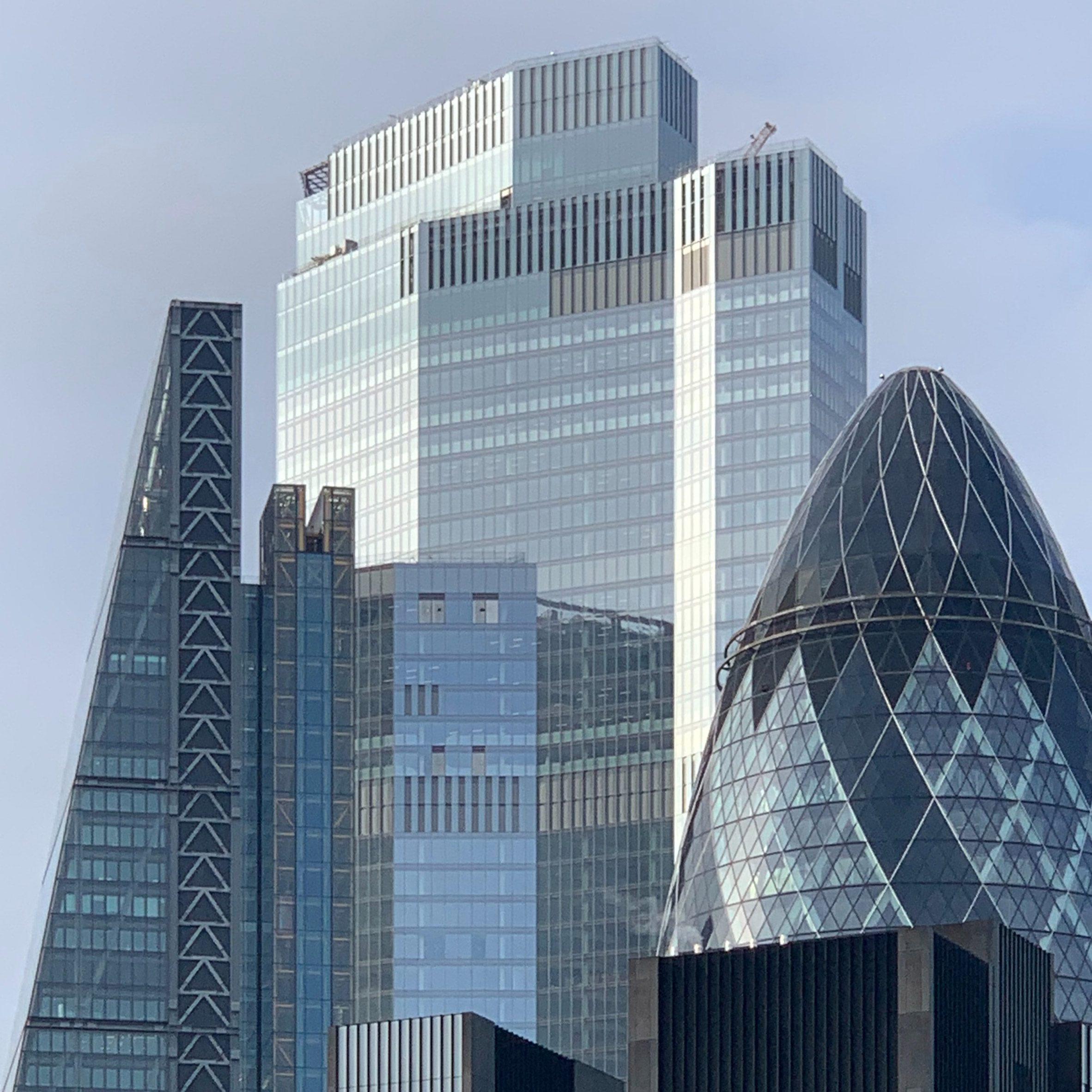 Glass skyscrapers in London