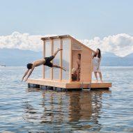 Trolle Rudebeck Haar floats prefabricated sauna on Lake Geneva