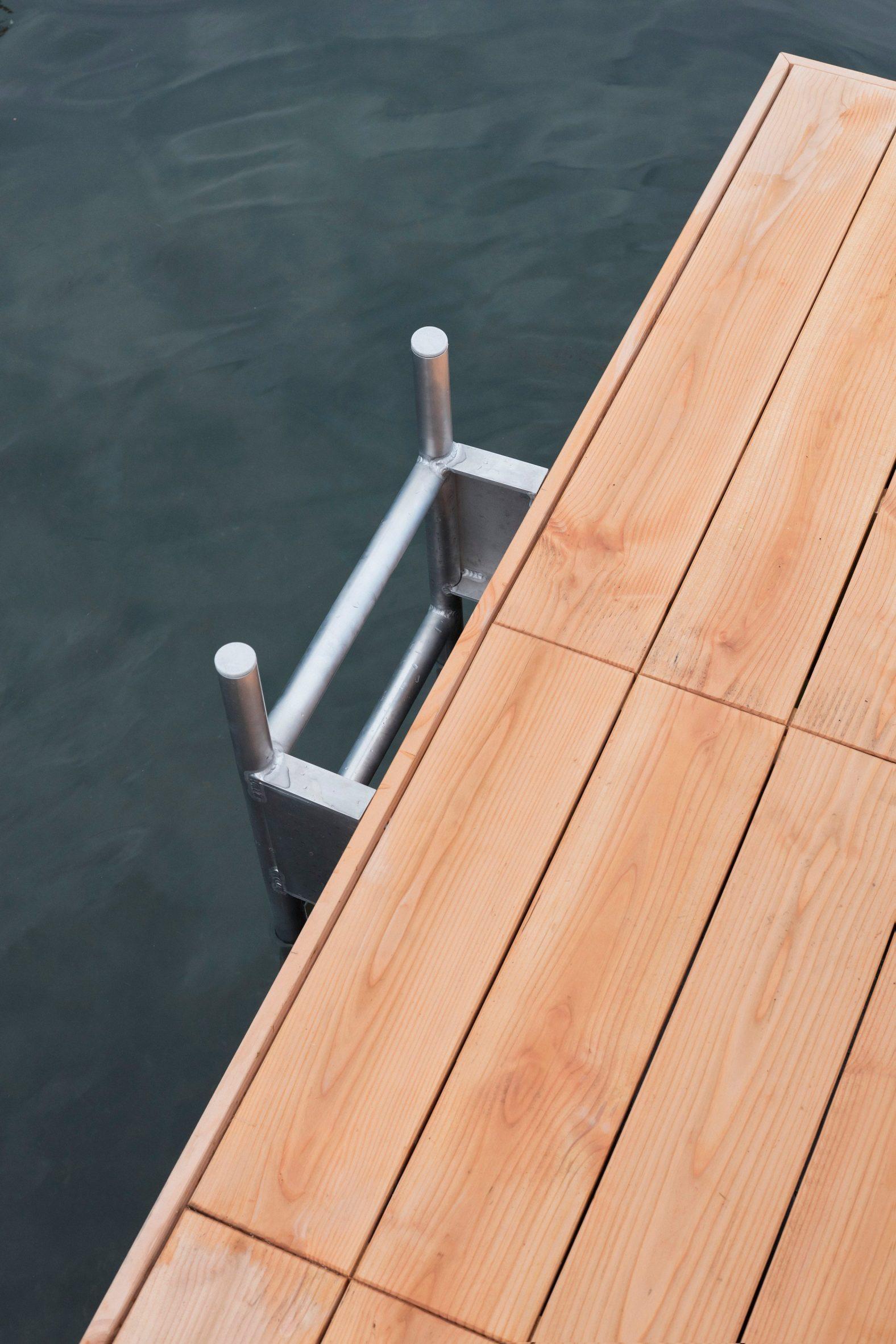 A metal ladder brings people to the deck