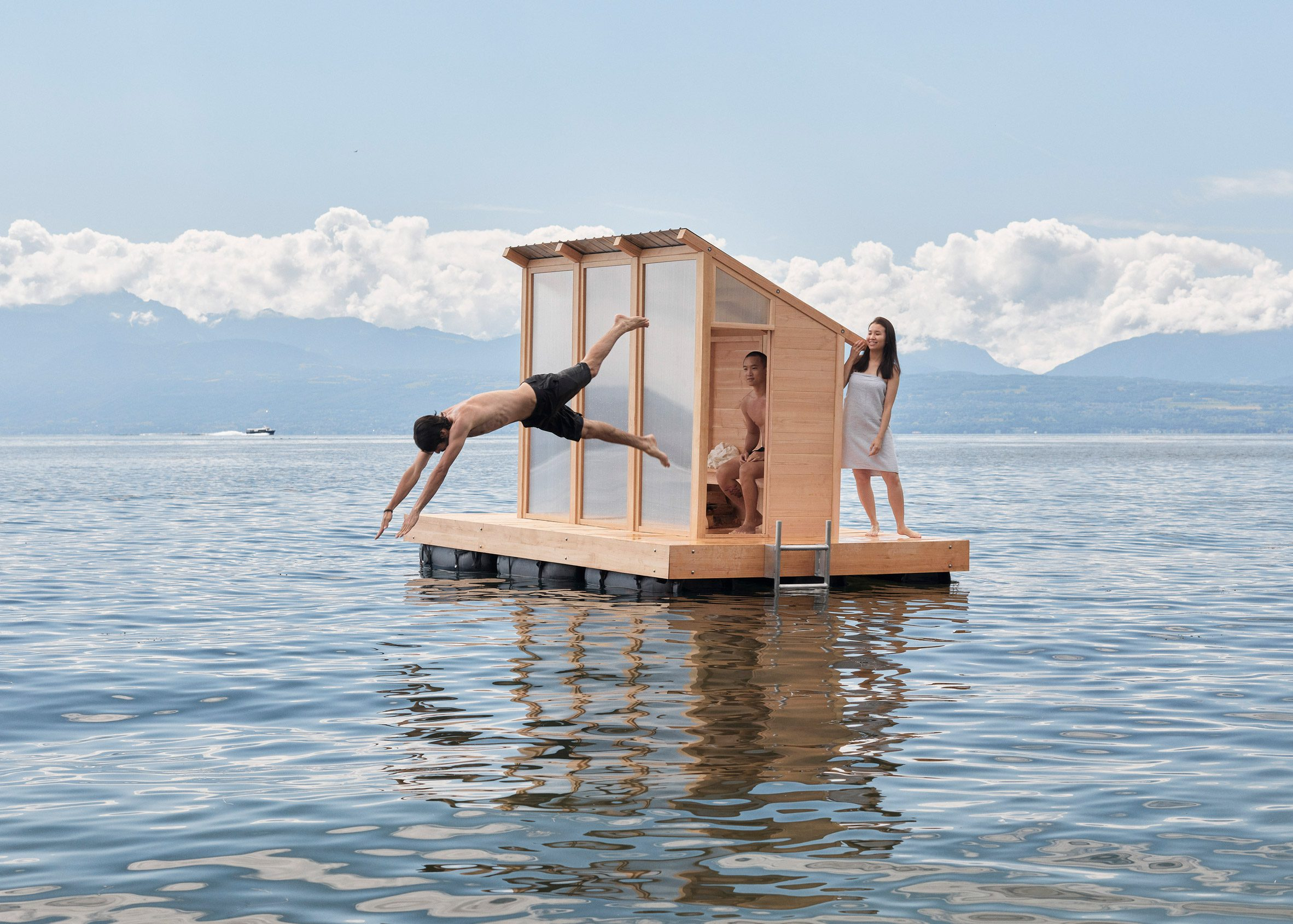 Löyly sauna is floating on Lake Geneva