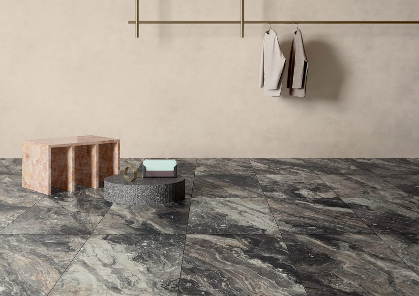 Marble Lab tile collection by Fiandre Architectural Surfaces in Arabescato Orobico