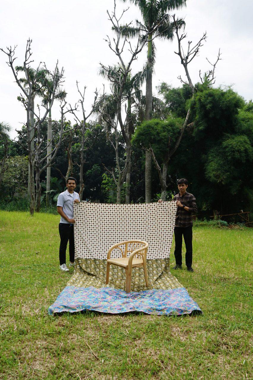 Rattan chair with modernist armchair shape